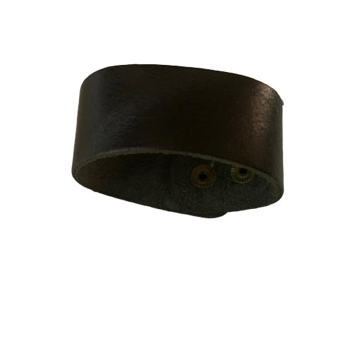 Bracelet - Leather - Men's or Women's Leather Plain Thick Black