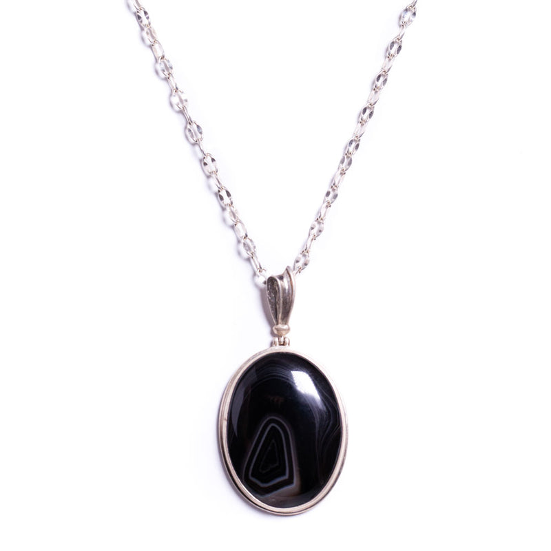 Necklace - Silver - Agate Black Grey Pendant