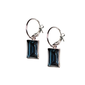 Earrings - Midnight Blue Crystal - Set in Silver
