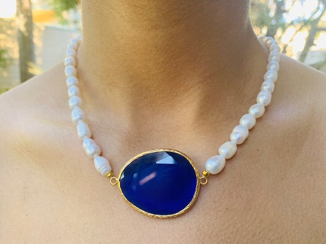 Necklace - Antika - Blue Quartz and Pearl