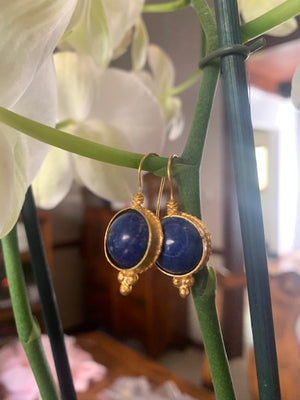 Earrings - Antika - Single Stone Medium Blue Lapis