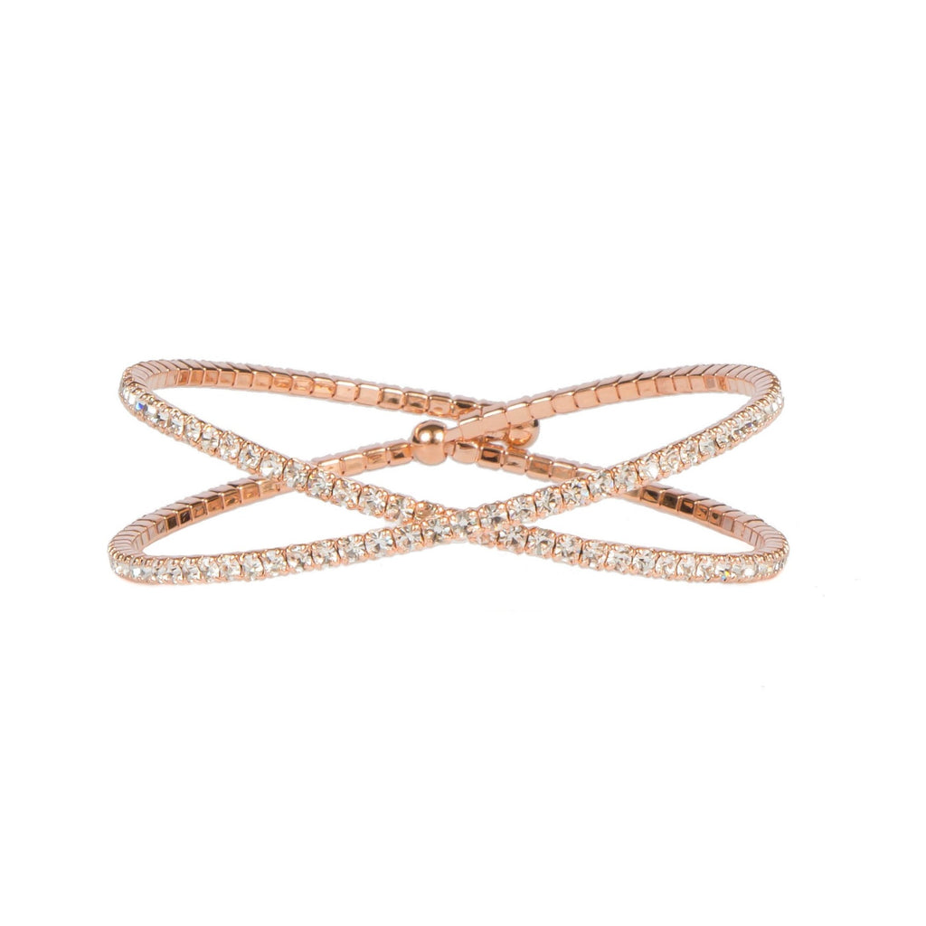 Bracelet - Crystal - X Inlay in rose gold - Beksan Designs