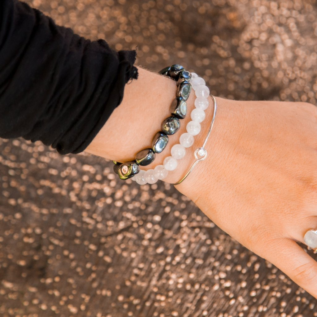 Bracelet - Antika -  Thin Bracelet with Crystal Stone - Silver - Beksan Designs
