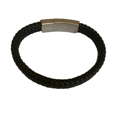 Bracelet - Silver - Men's Leather Braided With Silver Clasp