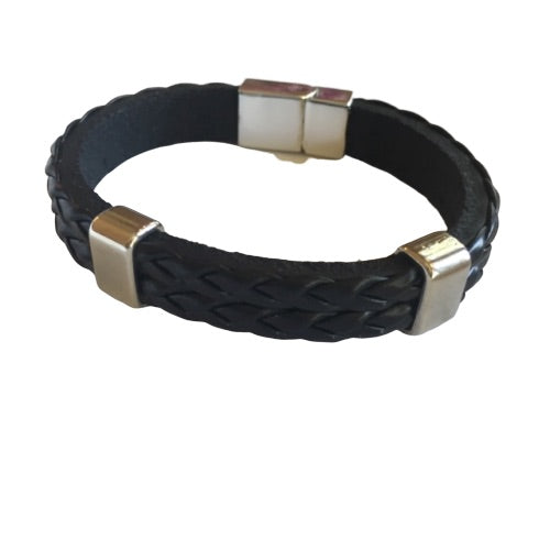 Bracelet - Silver - Men's Leather Braided With Silver Bars