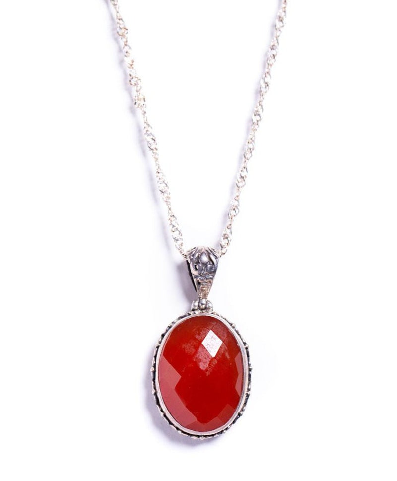 Necklace - Silver - Carnelian Pendant