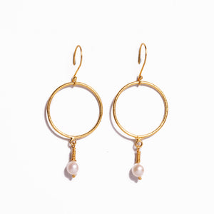 Earrings - Antika - Circle 24k Gold Vermeil & Small Pearl