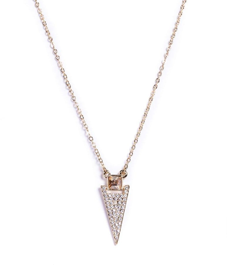 Necklace - Crystal - Arrow Clear & Citrine