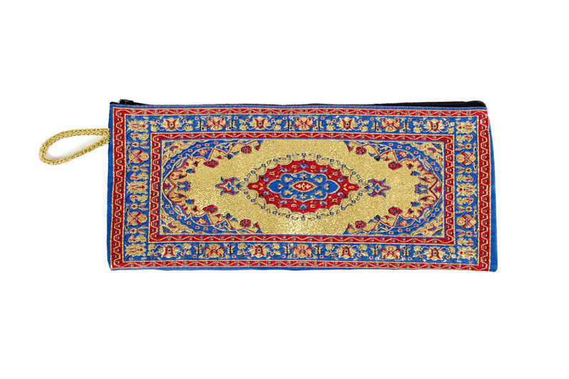 Coin Purse - Long Blue, Red & Gold - Beksan Designs
