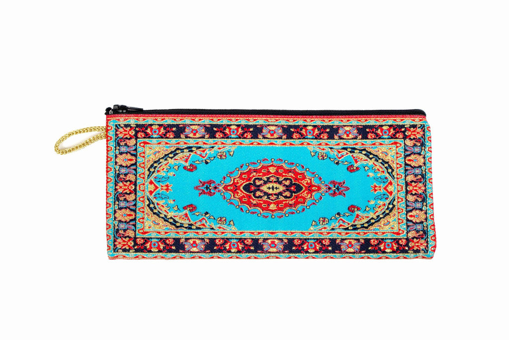 Coin Purse - Long Blue, Red & Turquoise