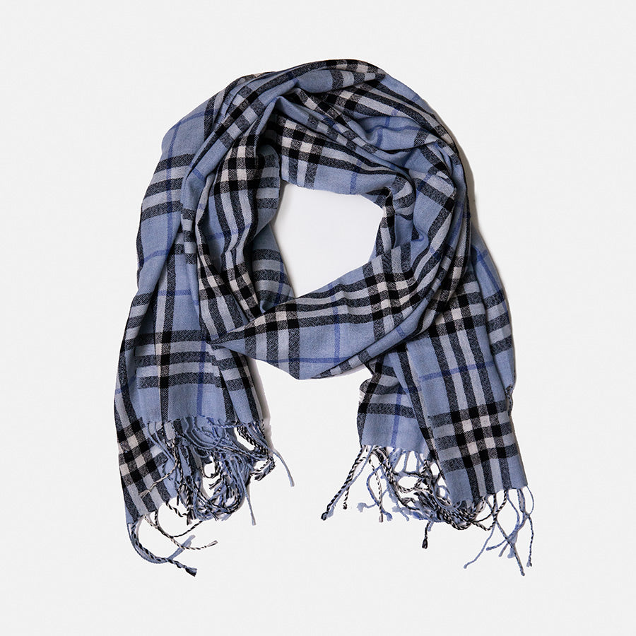 Scarf - Cotton - Blue Plaid