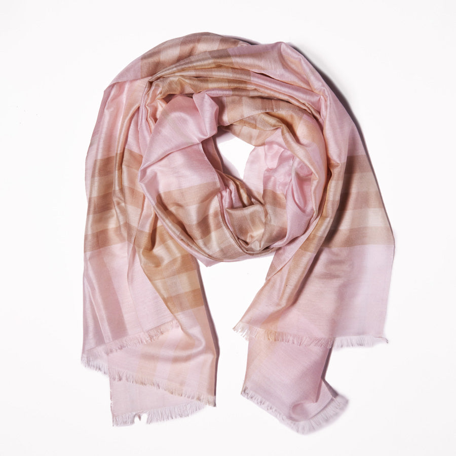 Scarf - Cotton & Silk - Beige Tan and Pink