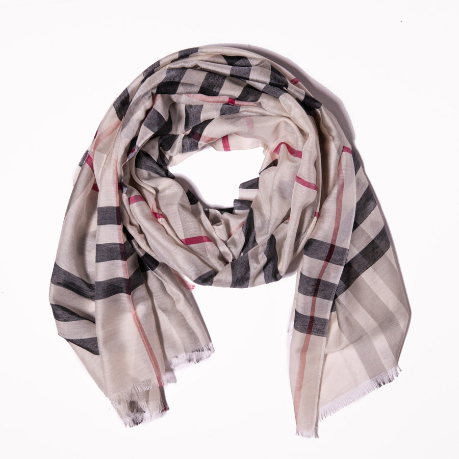 Scarf - Cotton & Silk - Beige Red and Black