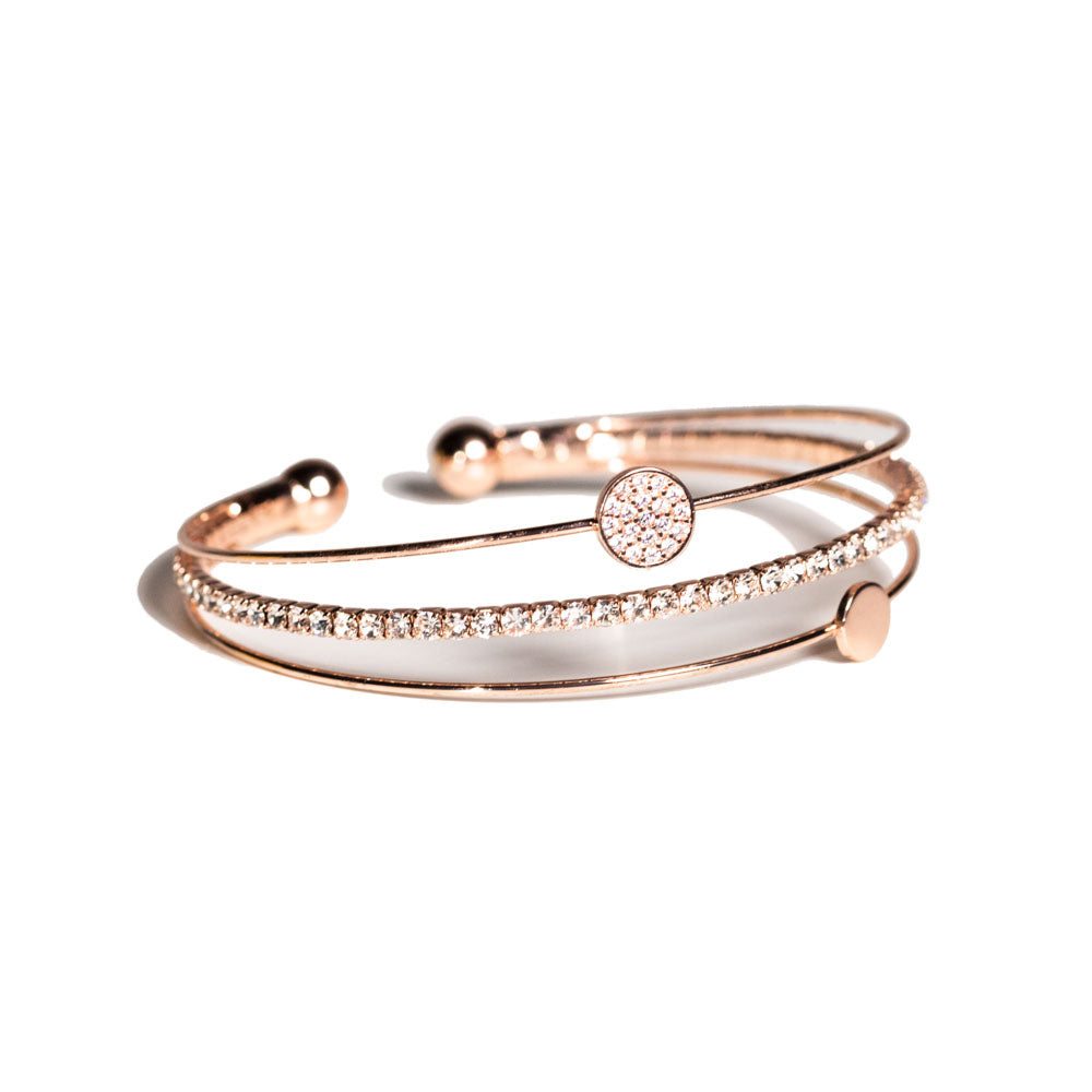 Bracelet - Crystal - 3 Row in rose gold