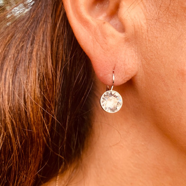 Earrings - Crystal - Set in Gold Vermeil
