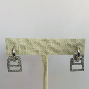 Earrings - Crystal - Clear Double Square Huggie Medium
