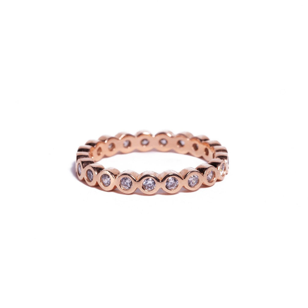 Ring - Crystal - Rose Gold Single Stack