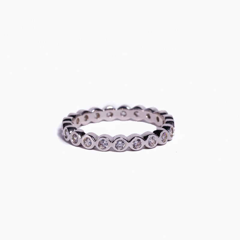 Ring - Crystal - Silver Single Stack