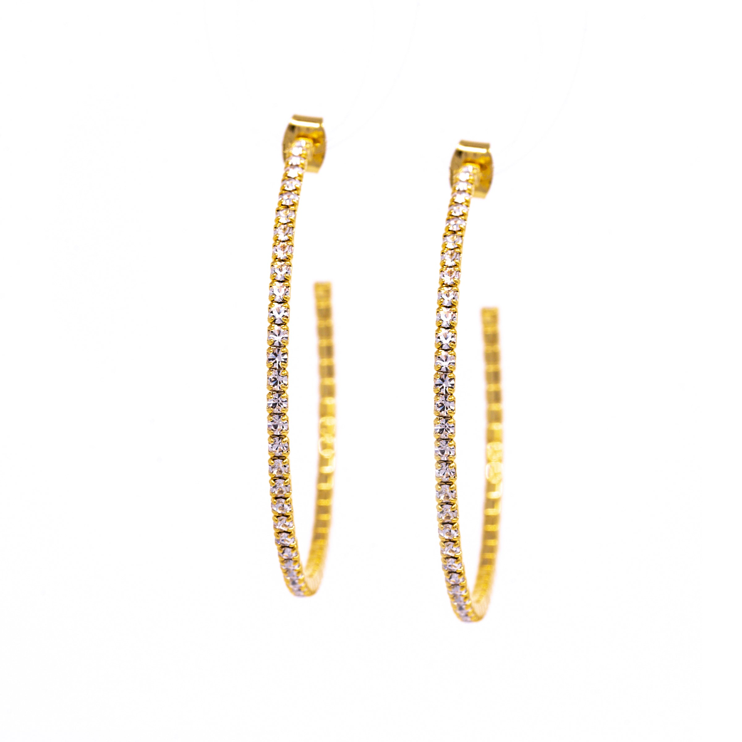 fdb915c56 Earrings - Crystal - 1/2 Hoop Large Gold (available in silver and ...