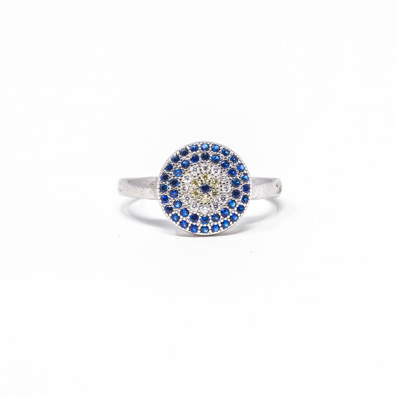Ring - Crystal - Blue & White Circle