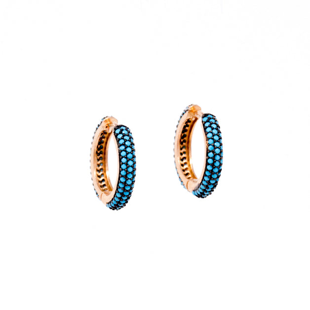 Earrings - Crystal - Blue Hoop Huggy Medium - Beksan Designs
