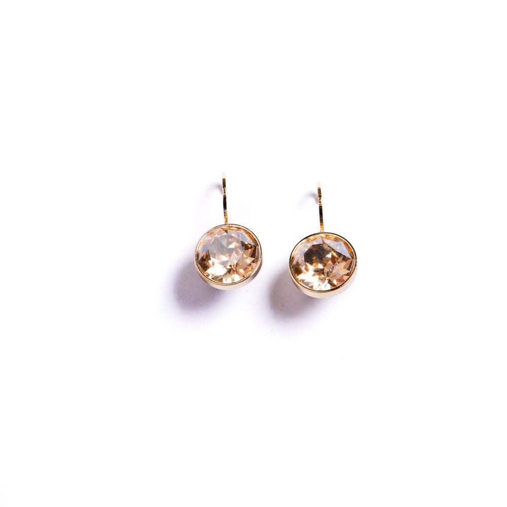 Earrings - Crystal - Citrine Set in Gold Vermeil