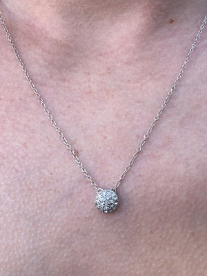 Necklace - Crystal - Pave Pendant Sterling Silver