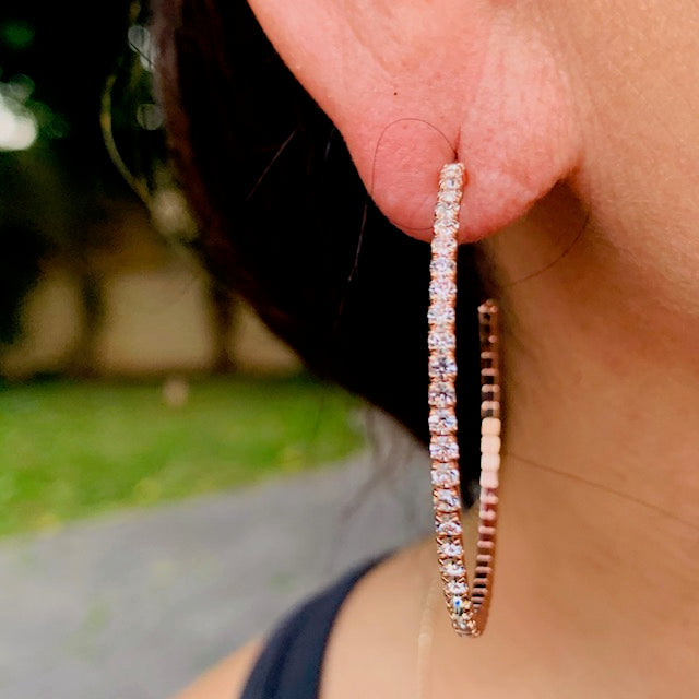 Earrings - Crystal - 1/2 Hoop Gold Large (also available in rose gold)