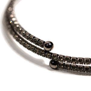 Bracelet - Crystal - Thin Double Inlay in Chocolate Crystals