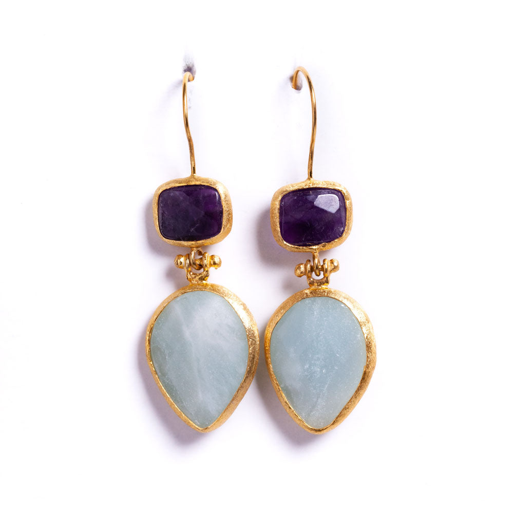 Earrings - Antika - Double Stone Amethyst and Aquamarine