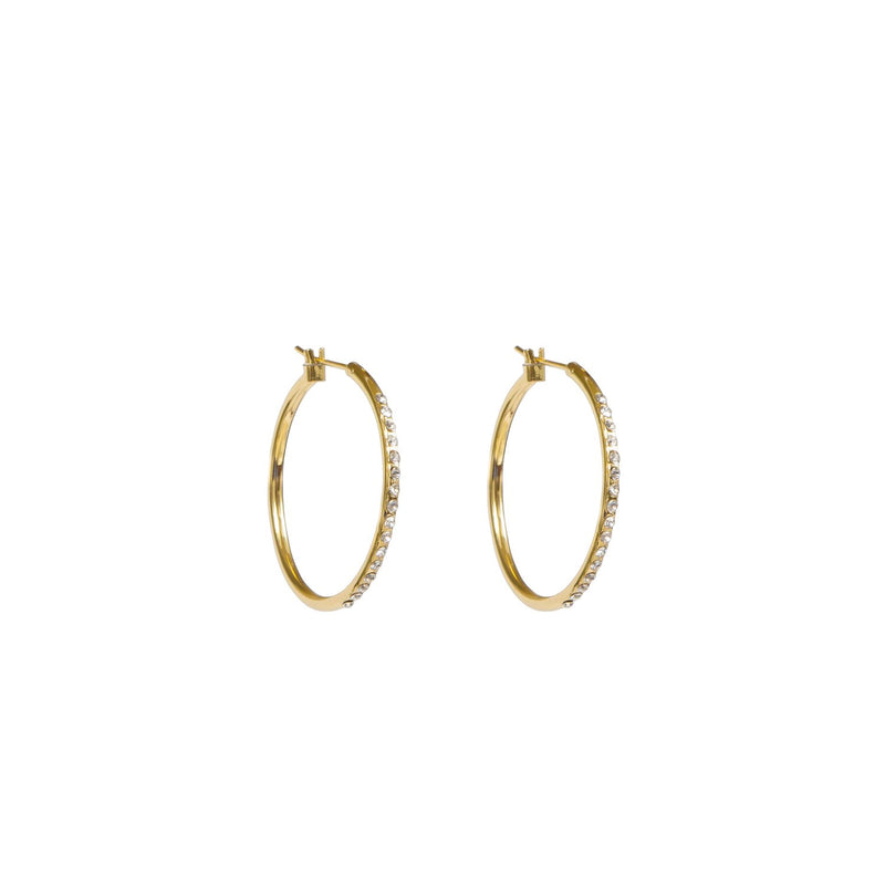 Earrings - Gold - Crystal Hoop - Beksan Designs