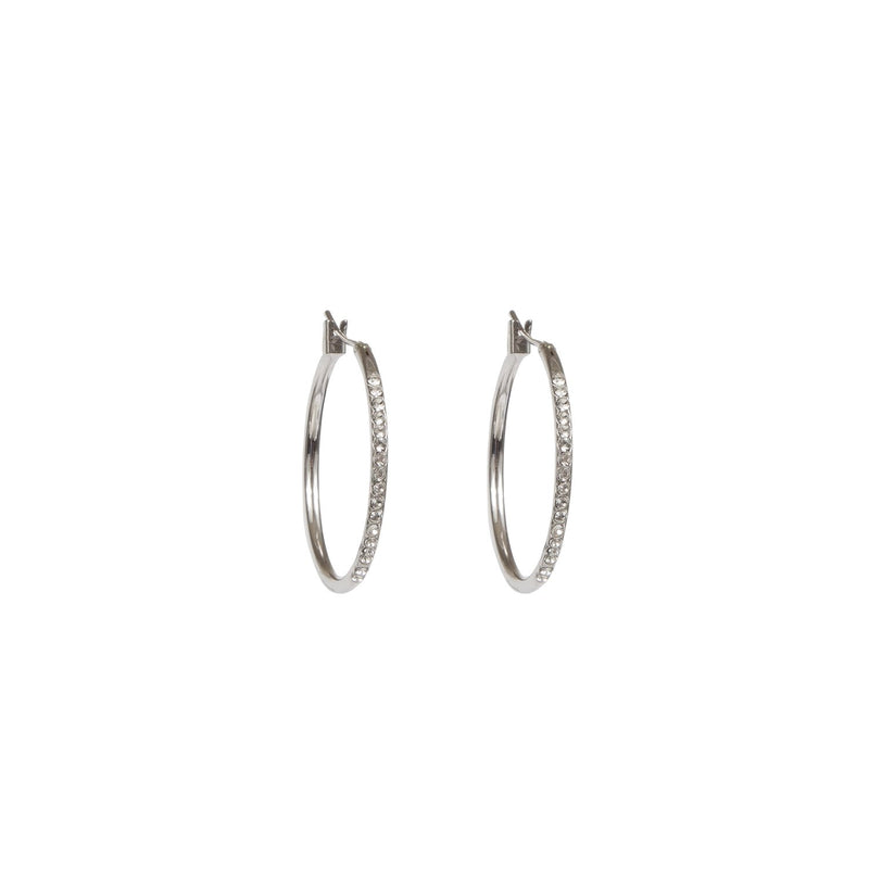 Earrings - Silver - Crystal Hoop - Beksan Designs