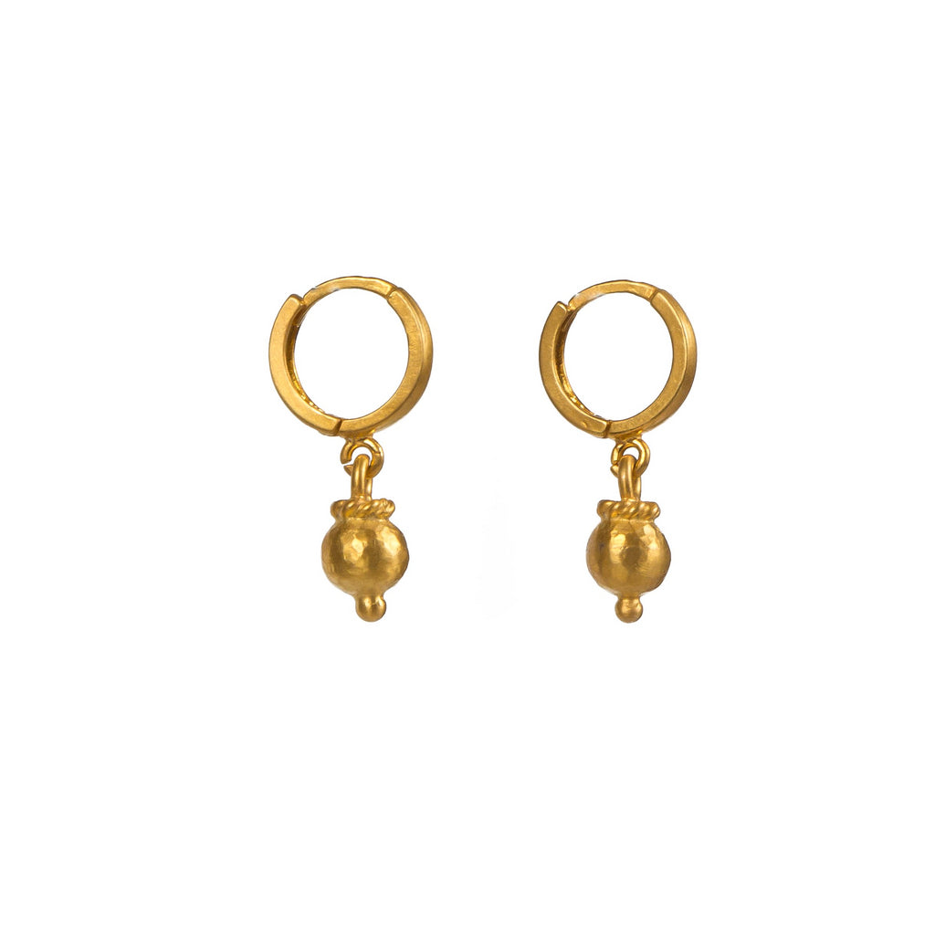 Earrings - Silver - Small Ball Hoop Gold