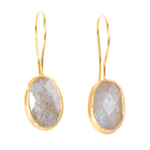 Earrings - Antika - Single Stone Small Labradorite Crystal Cut - Beksan Designs