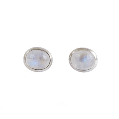 Earrings - Antika - Stud Moonstone and Silver - Beksan Designs
