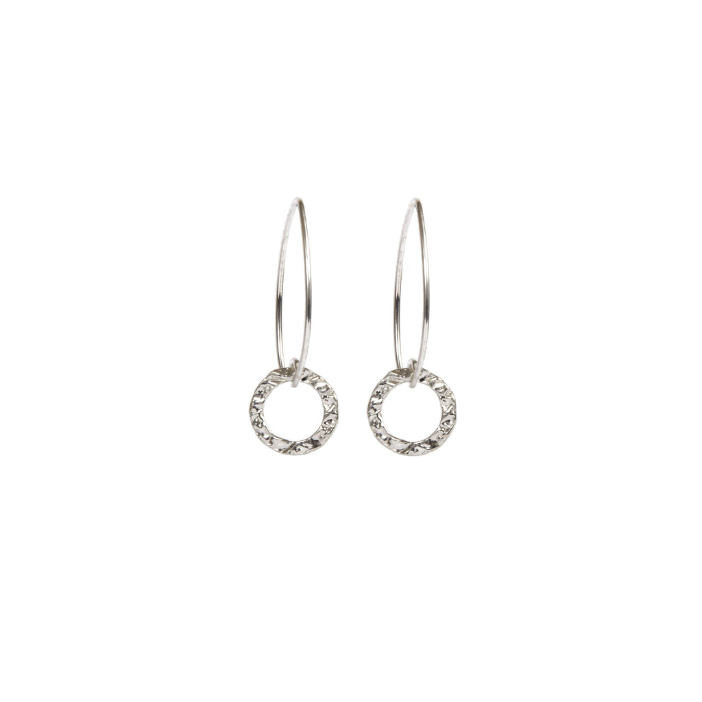 Earrings - Silver - 1/2 Hoop Circle Dangle