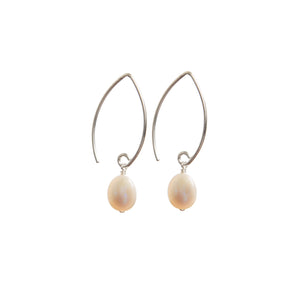 Earrings - Antika - 1/2 Hoop/Dangle Pearl - Beksan Designs