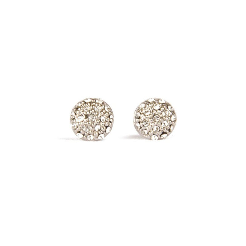 Earrings - Crystal Antika - Stud Silver Crystal Round - Beksan Designs