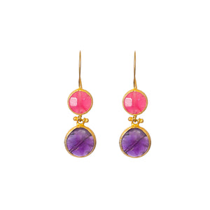 Earrings - Antika - Double Stone Pink Quartz and Amethyst - Beksan Designs