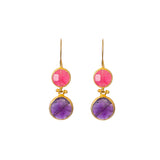 Earrings - Antika - Double Stone Pink Quartz and Amethyst