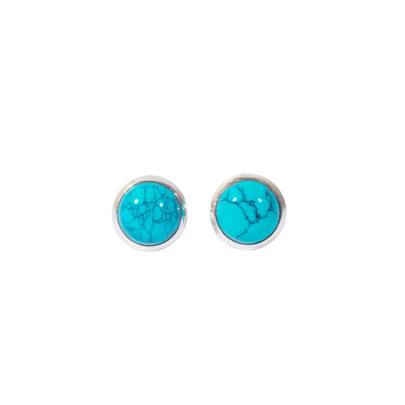 Earrings - Antika - Stud Turquoise and Silver (OVAL ONLY)