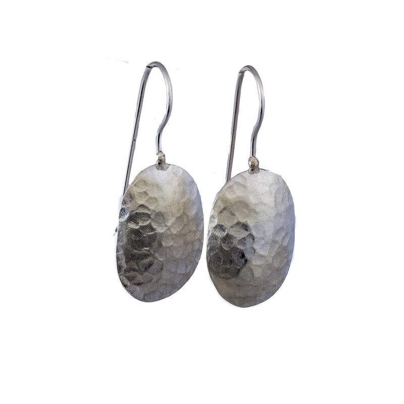 Earrings - Antika - Hammered Silver Geo Shape
