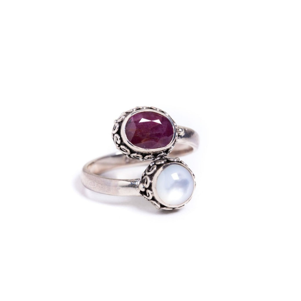 Ring - Silver -  Two Stone Garnet & Moonstone