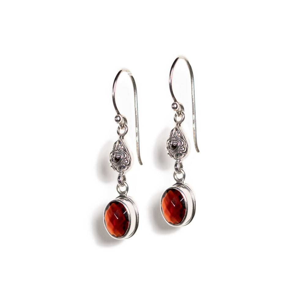 Earrings - Silver - Garnet Crystal Cut Drop