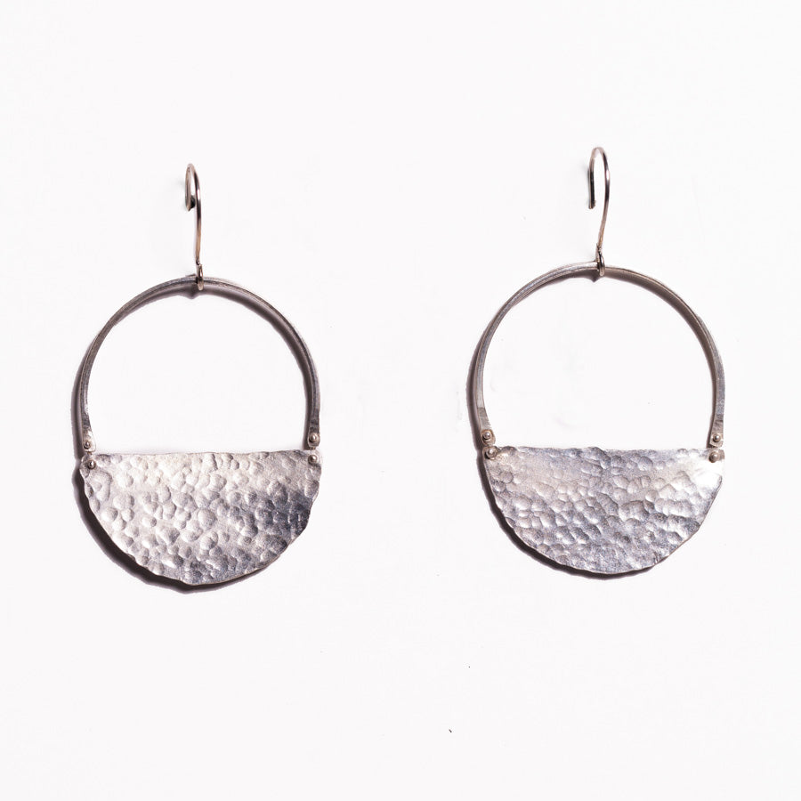 Earrings - Antika - Geo Hammer Half Moon .925 Silver Earrings