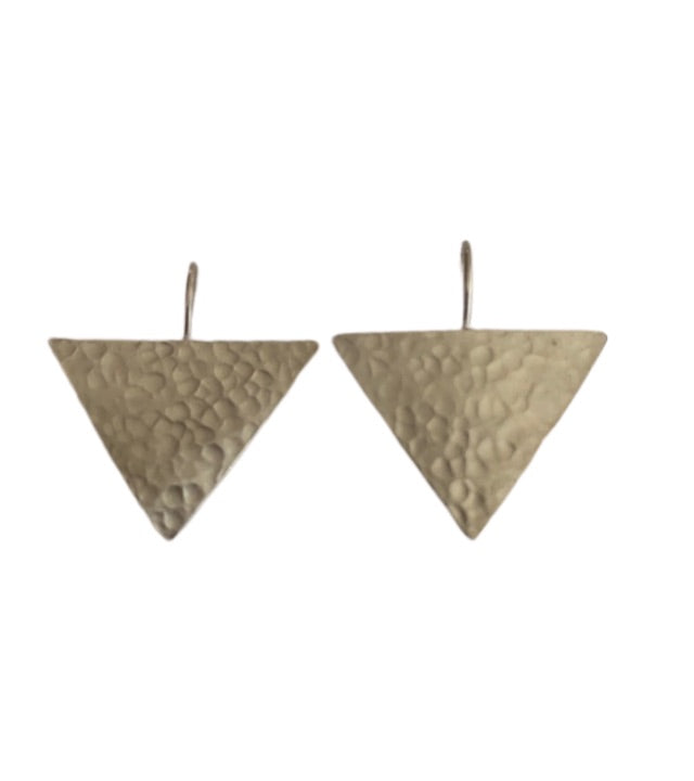 Earrings - Silver - Geo Hammer Triangle