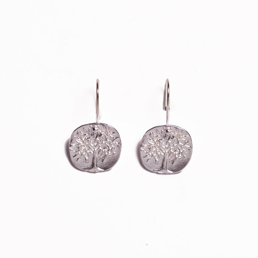 Earrings - Antika - Silver Geo Tree of Life Sterling Silver