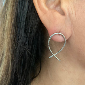 Earrings - Silver - Geo Teardrop Post Stud (also available in 24k gold vermeil)