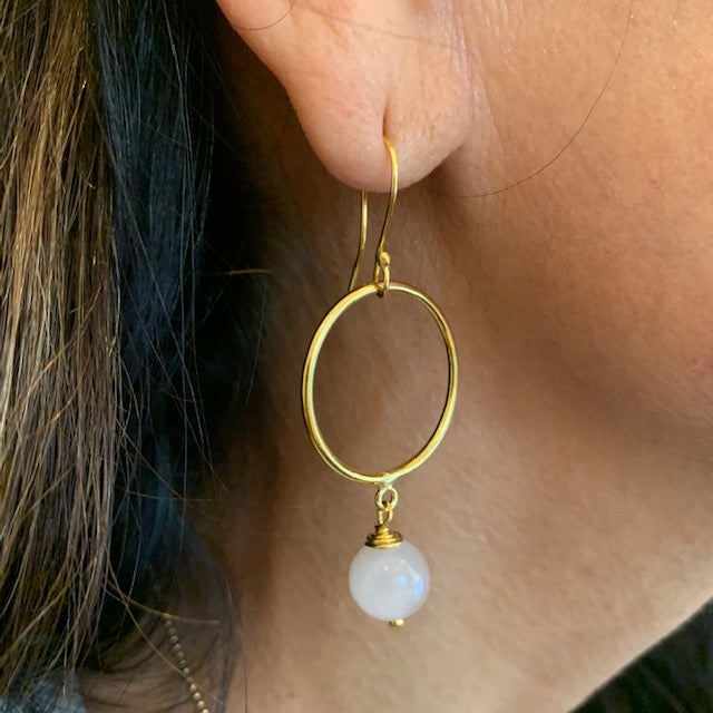 Earrings - Antika - Circle 24k Gold Vermeil & Rose Quartz