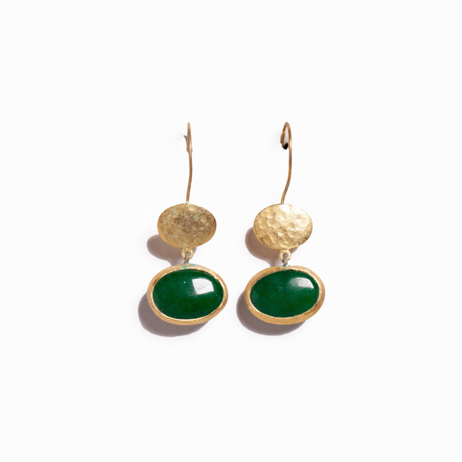 Earrings - Antika - Gold and Stone Jade